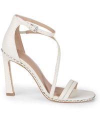 BCBGeneration Balina Snake-embossed Leather Sandals - White