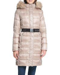 DKNY Puffer Faux-fur Hood Coat - Multicolour