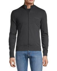 Armani Jeans Men's Embroidered-logo Stretch-cotton Sweatshirt - Solid Dark - Size M - Black
