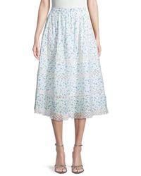 LoveShackFancy Women's Eponda Floral-print Cotton Skirt - Bonnet Blue - Size S
