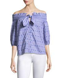 Parker Spade Printed Off-the-shoulder Cotton Blouse - Blue