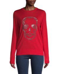 Zadig & Voltaire Miss Skull Merino-wool Long-sleeve Jumper - Grey