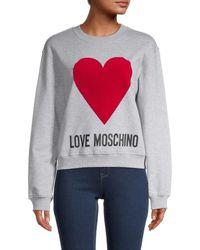Love Moschino Heart Logo Sweatshirt - Grey