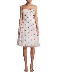 Zac Posen Polka Dot Strapless A-line Dress - Multicolour