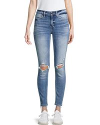 Flying Monkey Mid-rise Distressed Skinny Jeans - Blue