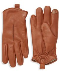 Saks Fifth Avenue Rugged Leather Tech Gloves - Black