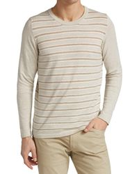 Saks Fifth Avenue Collection Contrast Stripe Crew Jumper - Natural