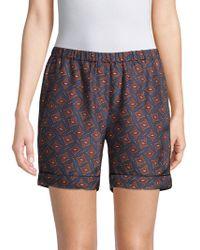 Burberry - Printed Silk Shorts - Lyst
