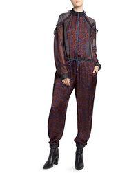 Sacai Satin Ruffled Leopard-print Jumpsuit - Purple