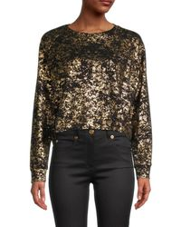 Terez Women's Metallic Foil-print Top - Black Gold - Size M