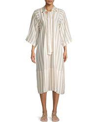 Chloé Striped Silk Midi Shift Dress - White