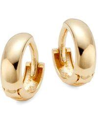 Saks Fifth Avenue 14k Yellow Gold Dome Huggie Hoop Earrings - Metallic