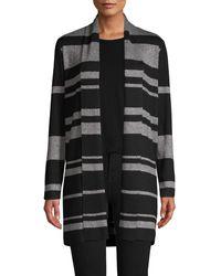 Calvin Klein Striped Shawl Collar Cardigan - Black