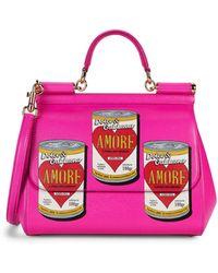 Dolce & Gabbana Amore Soup-print Leather Satchel - Pink