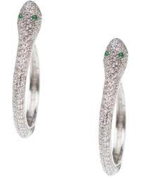 CZ by Kenneth Jay Lane Rhodium-plated & Crystal Snake Hoop Earrings - Metallic