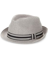 Saks Fifth Avenue Contrast Straw Fedora - Natural