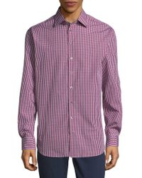 Giorgio Armani - Chequered Cotton Button-down Shirt - Lyst