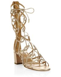 9c602c5b484 Aquazzura - Mumbai Leather Gladiator Sandals - Lyst