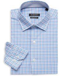 Bugatchi Regular-fit Graph Check Dress Shirt - Blue