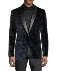 John Varvatos Men's Bedford Standard-fit Velvet Camo Tuxedo Jacket - Black Navy - Size 38 R