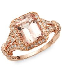 Effy 14k Rose Gold, Morganite & Diamond Ring - Metallic