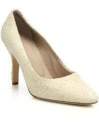 Helmut Lang Distressed Suede Court Shoes - Metallic