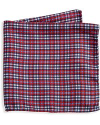 Saks Fifth Avenue Collection Reversible Plaid Silk Pocket Square - Red