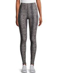Kendall + Kylie Python Ponte Print Leggings - Black