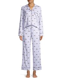 DKNY Printed Jersey Shirt & Pants Pyjamas Set - Blue