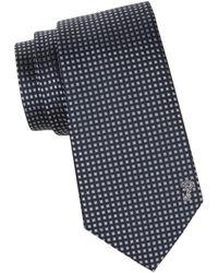 Versace Men's Gingham Silk Tie - Navy Pink - Blue
