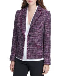 Donna Karan - Tailored Tweed Blazer - Lyst