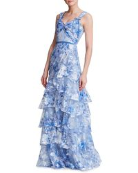 Marchesa Tiered Tulle Gown - Blue