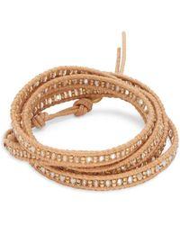 Chan Luu - Beaded Crystal & Leather Bracelet - Lyst