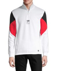 PUMA Rebel Colorblock Half-zip Pullover - White