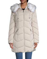 Tahari Faux Fur-trim Hooded Chevron Puffer Coat - Black