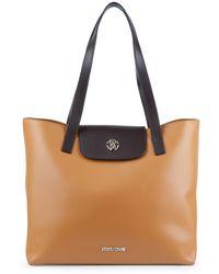 Roberto Cavalli Colorblock Leather Flap Tote - Brown