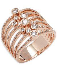 Effy 14k Rose Gold And Diamond Layered Ring - Metallic