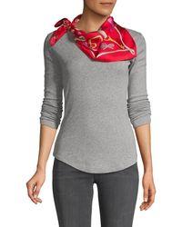Boutique Moschino Printed Silk Wraparound Square Scarf - Red
