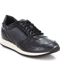 Facto - Embossed Leather Trainers - Lyst