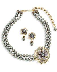 Heidi Daus Floral Faux Pearl Necklace & Earring Set - Metallic