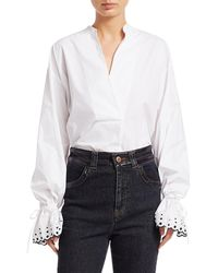 Chloé Women's Embroidered-cuff Poplin Top - White - Size 36 (4)