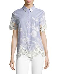 T Tahari - Lola Floral Embroidered Blouse - Lyst
