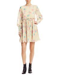 Ganni Pleated Floral Georgette Babydoll Dress - Natural