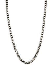 Effy Sterling Silver Round Box & Round Byzantine Chain Necklace - Blue