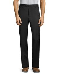 Saks Fifth Avenue Wool Check Dress Trousers - Black