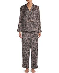 Donna Karan Printed 2-piece Pajama Set - Black