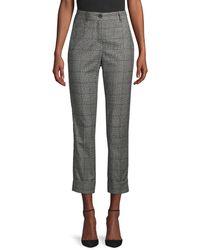 Peserico Check Wool Pants - Gray