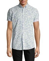 Report Collection Leaf-print Short-sleeve Stretch Shirt - Blue