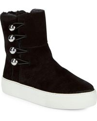 J/Slides - Faux Fur And Suede Ankle Boots - Lyst