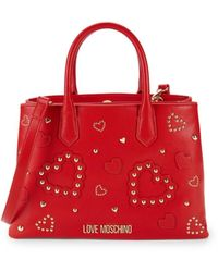 Love Moschino Women's Studded Hearts Top Handle Bag - Red